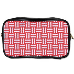 Woven1 White Marble & Red Colored Pencil Toiletries Bags 2 Side by trendistuff