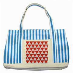 Triangle3 White Marble & Red Colored Pencil Striped Blue Tote Bag by trendistuff