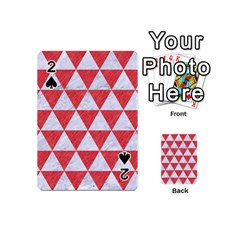 Triangle3 White Marble & Red Colored Pencil Playing Cards 54 (mini)  by trendistuff