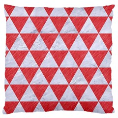 Triangle3 White Marble & Red Colored Pencil Large Cushion Case (two Sides) by trendistuff