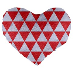 Triangle3 White Marble & Red Colored Pencil Large 19  Premium Flano Heart Shape Cushions by trendistuff