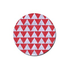 Triangle2 White Marble & Red Colored Pencil Rubber Round Coaster (4 Pack)  by trendistuff