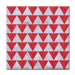 Triangle2 White Marble & Red Colored Pencil Face Towel by trendistuff