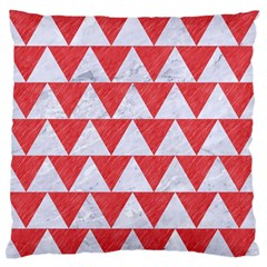Triangle2 White Marble & Red Colored Pencil Large Flano Cushion Case (one Side) by trendistuff