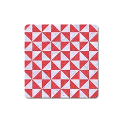 Triangle1 White Marble & Red Colored Pencil Square Magnet by trendistuff