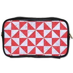 Triangle1 White Marble & Red Colored Pencil Toiletries Bags by trendistuff