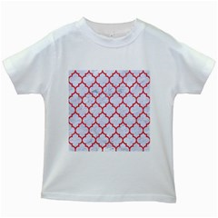 Tile1 White Marble & Red Colored Pencil (r) Kids White T Shirts