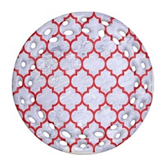 Tile1 White Marble & Red Colored Pencil (r) Ornament (round Filigree) by trendistuff
