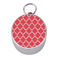 Tile1 White Marble & Red Colored Pencil Mini Silver Compasses by trendistuff