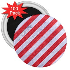Stripes3 White Marble & Red Colored Pencil (r) 3  Magnets (100 Pack) by trendistuff