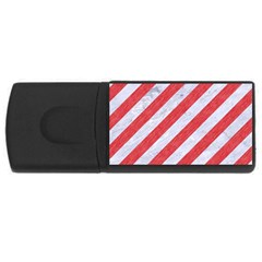 Stripes3 White Marble & Red Colored Pencil (r) Rectangular Usb Flash Drive by trendistuff