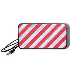 Stripes3 White Marble & Red Colored Pencil (r) Portable Speaker by trendistuff