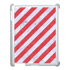 Stripes3 White Marble & Red Colored Pencil (r) Apple Ipad 3/4 Case (white) by trendistuff