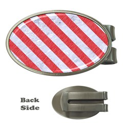 Stripes3 White Marble & Red Colored Pencil Money Clips (oval)