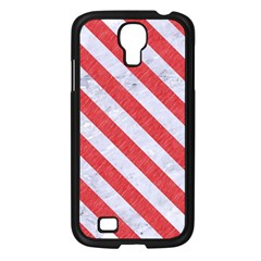 Stripes3 White Marble & Red Colored Pencil Samsung Galaxy S4 I9500/ I9505 Case (black) by trendistuff