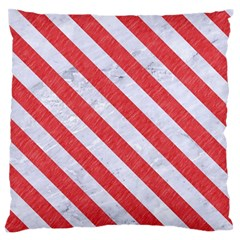 Stripes3 White Marble & Red Colored Pencil Large Flano Cushion Case (two Sides) by trendistuff