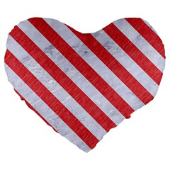 Stripes3 White Marble & Red Colored Pencil Large 19  Premium Flano Heart Shape Cushions by trendistuff