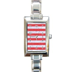 Stripes2white Marble & Red Colored Pencil Rectangle Italian Charm Watch by trendistuff