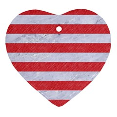 Stripes2white Marble & Red Colored Pencil Heart Ornament (two Sides)