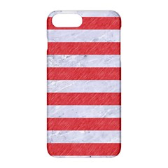 Stripes2white Marble & Red Colored Pencil Apple Iphone 8 Plus Hardshell Case by trendistuff