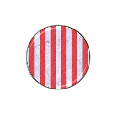 Stripes1 White Marble & Red Colored Pencil Hat Clip Ball Marker by trendistuff