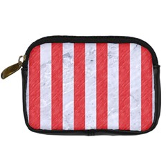 Stripes1 White Marble & Red Colored Pencil Digital Camera Cases by trendistuff