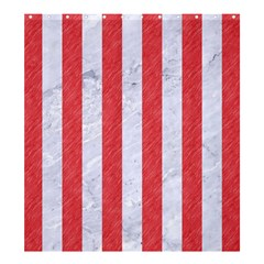 Stripes1 White Marble & Red Colored Pencil Shower Curtain 66  X 72  (large)  by trendistuff