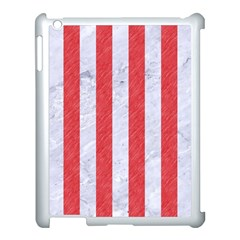 Stripes1 White Marble & Red Colored Pencil Apple Ipad 3/4 Case (white) by trendistuff