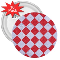Square2 White Marble & Red Colored Pencil 3  Buttons (10 Pack)  by trendistuff