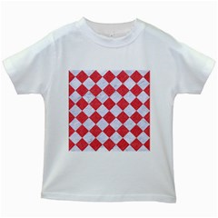 Square2 White Marble & Red Colored Pencil Kids White T Shirts