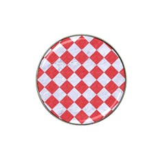 Square2 White Marble & Red Colored Pencil Hat Clip Ball Marker by trendistuff