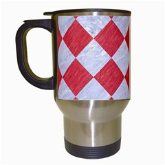 Square2 White Marble & Red Colored Pencil Travel Mugs (white) by trendistuff