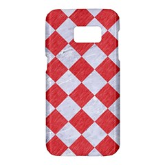 Square2 White Marble & Red Colored Pencil Samsung Galaxy S7 Hardshell Case  by trendistuff