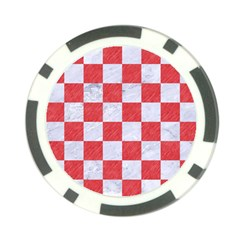 Square1 White Marble & Red Colored Pencil Poker Chip Card Guard by trendistuff