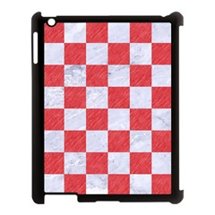 Square1 White Marble & Red Colored Pencil Apple Ipad 3/4 Case (black) by trendistuff