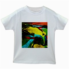 Yellow Dolphins   Blue Lagoon 3 Kids White T Shirts