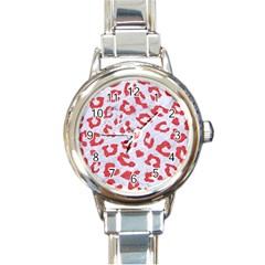 Skin5 White Marble & Red Colored Pencil Round Italian Charm Watch by trendistuff