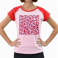 Skin5 White Marble & Red Colored Pencil Women s Cap Sleeve T Shirt