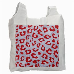 Skin5 White Marble & Red Colored Pencil Recycle Bag (two Side)  by trendistuff