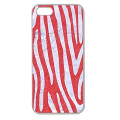 Skin4 White Marble & Red Colored Pencil (r) Apple Seamless Iphone 5 Case (clear) by trendistuff
