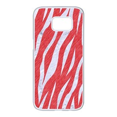 Skin3 White Marble & Red Colored Pencil Samsung Galaxy S7 Edge White Seamless Case by trendistuff