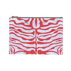 Skin2 White Marble & Red Colored Pencil (r) Cosmetic Bag (large)  by trendistuff
