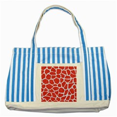 Skin1 White Marble & Red Colored Pencil (r) Striped Blue Tote Bag by trendistuff