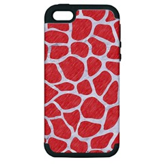 Skin1 White Marble & Red Colored Pencil (r) Apple Iphone 5 Hardshell Case (pc+silicone) by trendistuff