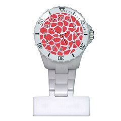 Skin1 White Marble & Red Colored Pencil (r) Plastic Nurses Watch by trendistuff