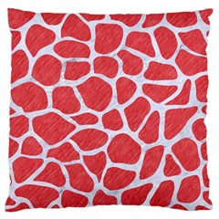 Skin1 White Marble & Red Colored Pencil (r) Large Flano Cushion Case (one Side) by trendistuff