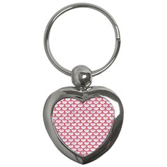 Scales3 White Marble & Red Colored Pencil (r) Key Chains (heart)  by trendistuff