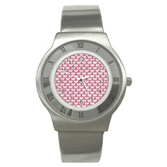 Scales3 White Marble & Red Colored Pencil (r) Stainless Steel Watch by trendistuff