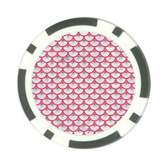 Scales3 White Marble & Red Colored Pencil (r) Poker Chip Card Guard (10 Pack) by trendistuff