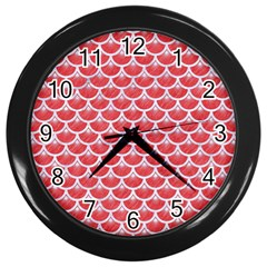 Scales3 White Marble & Red Colored Pencil Wall Clocks (black) by trendistuff